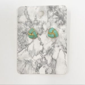 NEW Teal and Gold Tone Acrylic Stud Earrings